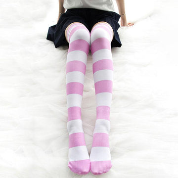Modakawa Socks Pink / One Size Stripe Cat Claw Candy Color High Socks Long Over the Knee