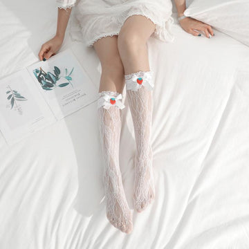 Modakawa Socks Strawberry Bow Knot Lace Summer Socks