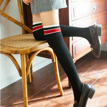 Modakawa Socks Stripes Thigh High Socks Long Over the Knee