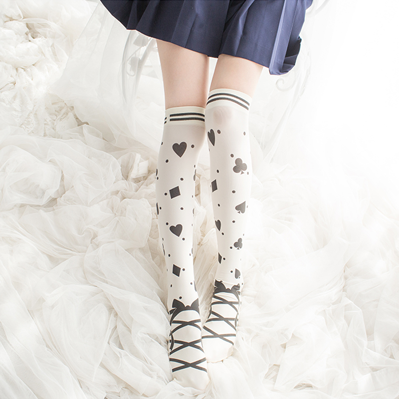 Modakawa Socks White Poker Pattern Bowknot Lolita Stockings