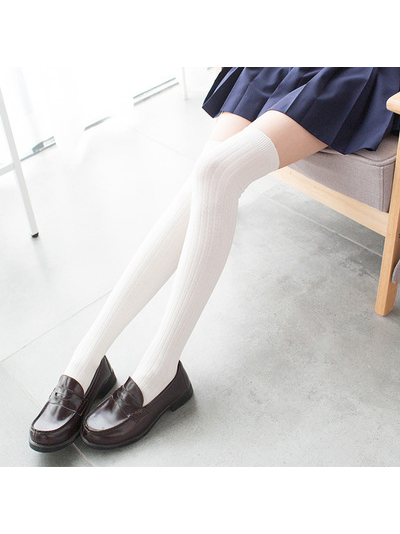 Modakawa Socks WHITE School-girl Vertical stripes Stockings