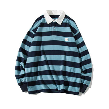 Modakawa Sweartshirt Blue / S Girlfriend Boyfriend Stripe Collar Smiley Loose Sweatshirt