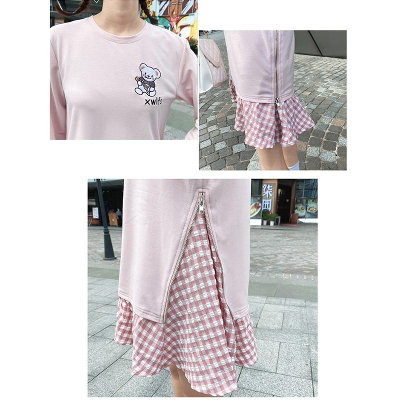 Modakawa Sweartshirt Girlfriend Boyfriend Bear Plaid Pink One-Piece Sweartshirt Zipper Dress