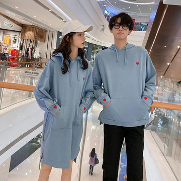 Modakawa Sweartshirt Girlfriend Boyfriend Love Heart Hoodie Sweatshirt Dress