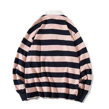 Modakawa Sweartshirt Girlfriend Boyfriend Stripe Collar Smiley Loose Sweatshirt