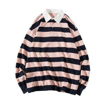 Modakawa Sweartshirt Pink / S Girlfriend Boyfriend Stripe Collar Smiley Loose Sweatshirt