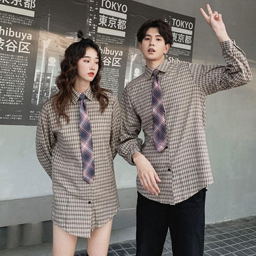 Modakawa Sweartshirt Shirt With Tie / S Girlfriend Boyfriend Plaid Vest Tie Shirt Two-Piece Set Sweatshirt