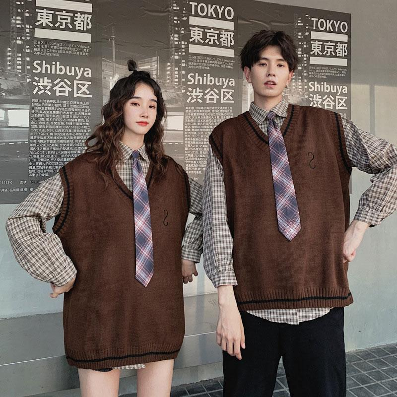 Modakawa Sweartshirt Vest / S Girlfriend Boyfriend Plaid Vest Tie Shirt Two-Piece Set Sweatshirt