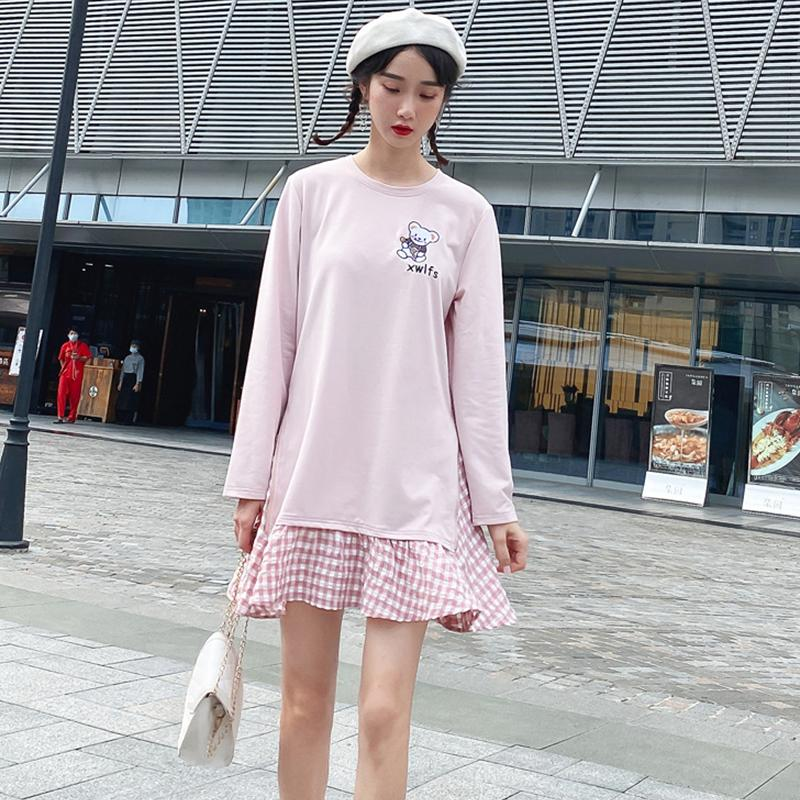Modakawa Sweartshirt Woman Dress / S Girlfriend Boyfriend Bear Plaid Pink One-Piece Sweartshirt Dress