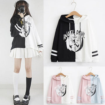 Modakawa Sweatshirt ANGEL DEVIL Letter Japanese Cartoon Hoodie Color Block