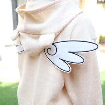 Angel Wings Embroidery Ears Detachable Tail Sweatshirt