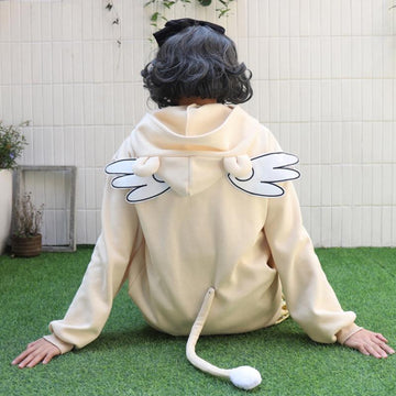 Modakawa Sweatshirt Angel Wings Embroidery Ears Detachable Tail Sweatshirt