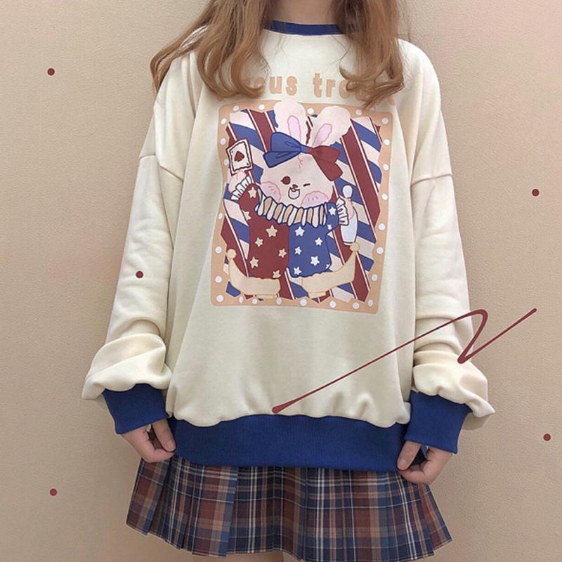 Modakawa Sweatshirt Apricot / One Size Rabbit Magician Print Color Block Sweatshirt