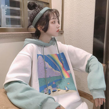 Modakawa Sweatshirt As Shown / One Size Cartoon Oversize Hoodie Fake Two-Piece Inner Fleece