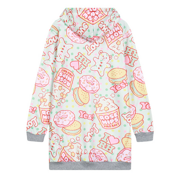 Modakawa Sweatshirt As Shown / One Size Kawaii Doughnut Cartoon Print Brushed Hoodie