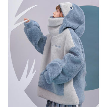 Modakawa Sweatshirt Baby Shark Embroidery Zipper Letter Plush Hoodie