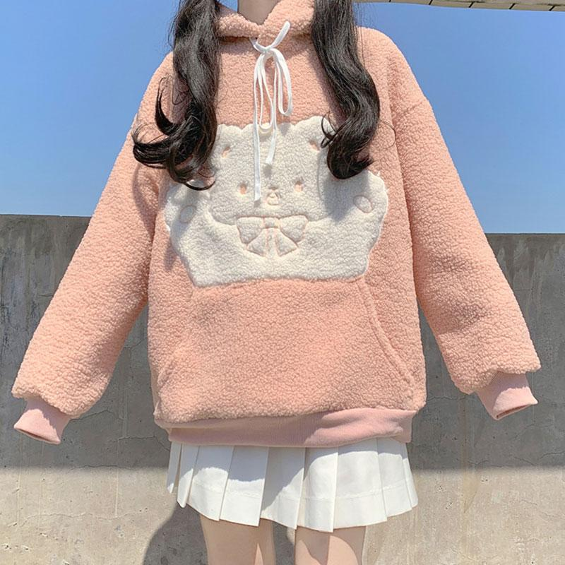 Modakawa Sweatshirt Bear Bow Pocket Plush Hoodie