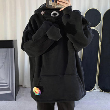 Modakawa Sweatshirt Bear Ears Zipper Pocket Oversized Hoodie