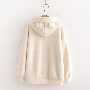 Modakawa Sweatshirt Bear Embroidery Pocket Plush Hoodie