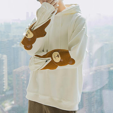 Modakawa Sweatshirt Bear Embroidery Zipper Loose Hoodie