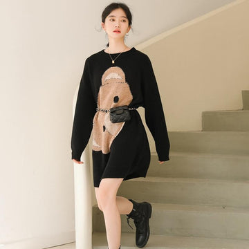 Modakawa Sweatshirt Bear Letter Knitted Sweater