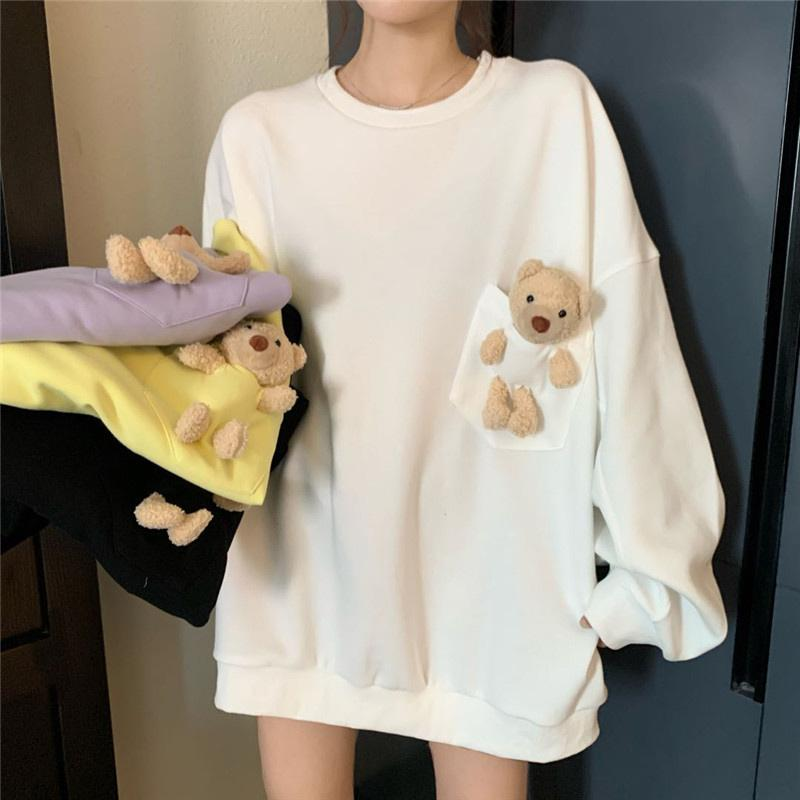 Modakawa Sweatshirt Bear Pocket Loose Sweatshirt