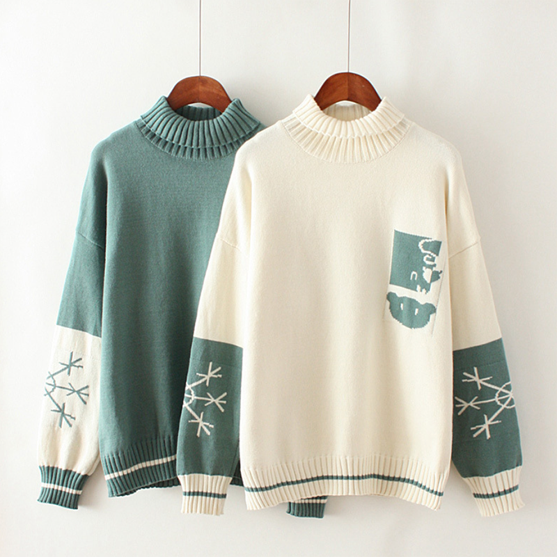 Modakawa Sweatshirt Bear Snowflake Pattern Sweater High Collar