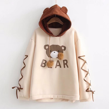 Modakawa Sweatshirt Beige & Brown / One Size Rilakkuma Bear Ears Lace-Up Sleeves Hoodie