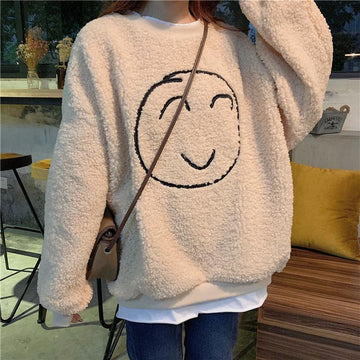 Modakawa Sweatshirt Beige / M Smile Face Fake Two-Piece Loose Sweatshirt