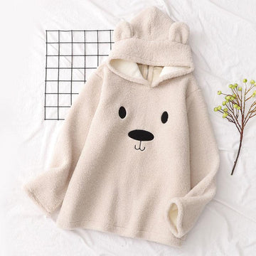 Modakawa Sweatshirt Beige / One Size Bear Ears Cartoon Zipper Hoodie