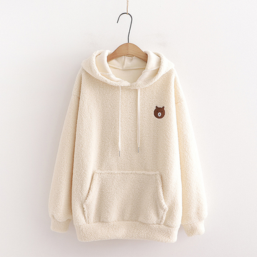 Modakawa Sweatshirt Beige / One Size Bear Embroidery Pocket Plush Hoodie
