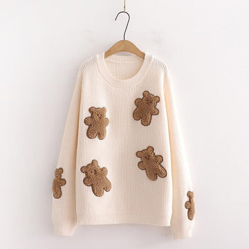 Modakawa Sweatshirt Beige / One Size Bear Sweet Knitted Loose Sweater