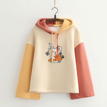 Modakawa Sweatshirt Beige / One Size Bunny Carrot Print Color Block Hoodie