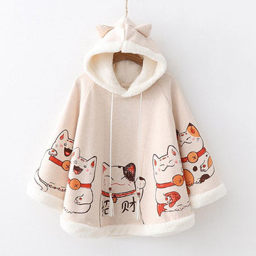 Modakawa Sweatshirt Beige / One Size Cute Japanese Lucky Cat Cloak Hoodie Inner Fleece