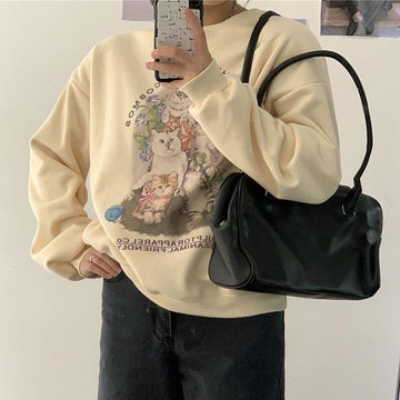 Modakawa Sweatshirt Beige / One Size Kitty Puppy Letter Print Loose Sweatshirt