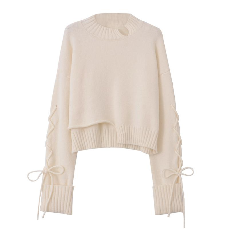 Modakawa Sweatshirt Beige / One Size Lace Up Irregular Knitted Pullover Sweater