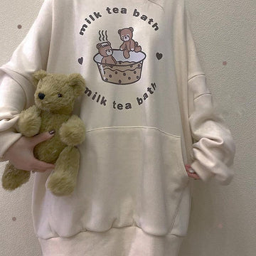 Modakawa Sweatshirt Beige / One Size MILK TEA BATH Bear Print Pocket Oversize Hoodie