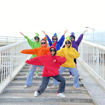 Modakawa Sweatshirt BFF Matching Best Friends Candy Rainbow Color Calabash Oversized Hoodie