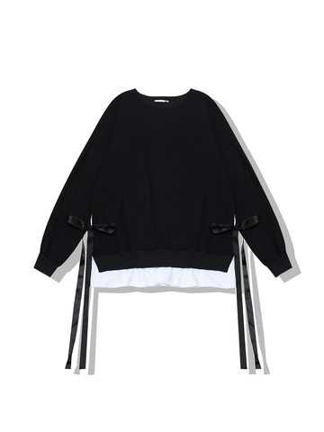 Modakawa Sweatshirt Black Bow Fake Two-Piece Sweatshirt