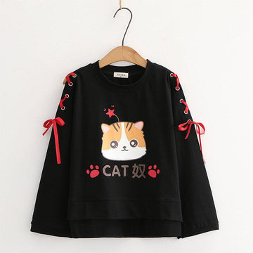 Modakawa Sweatshirt Black Cartoon Cat Star Print Lace Up Bow Sleeves Sweatshirt
