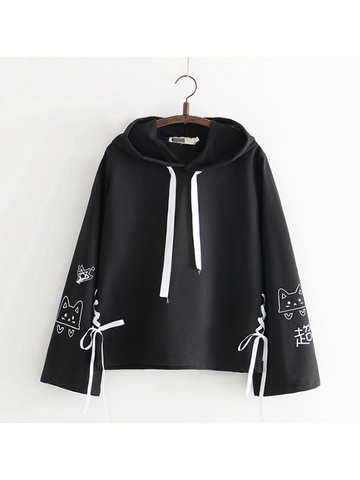 Modakawa Sweatshirt Black Cat Bow-knot Long Sleeves Sweatshirt