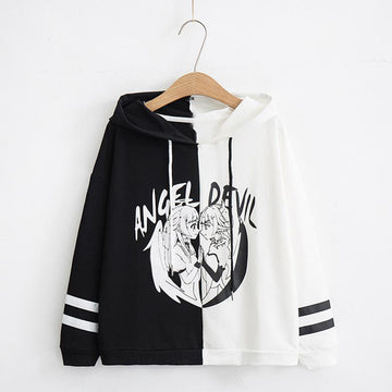 Modakawa Sweatshirt Black / M Angel Devil Japanese Cartoon Hoodie Color Block