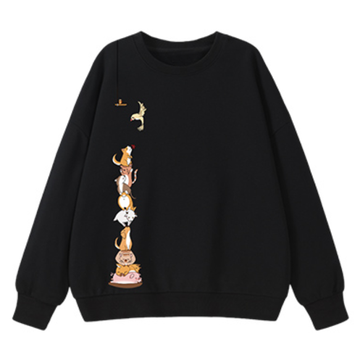 Modakawa Sweatshirt Black / M Animal Cartoon Print Round Neck Sweatshirt