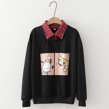 Modakawa Sweatshirt Black / M Animal Dog Cartoon Plaid Collar One-Piece Sweatshirt