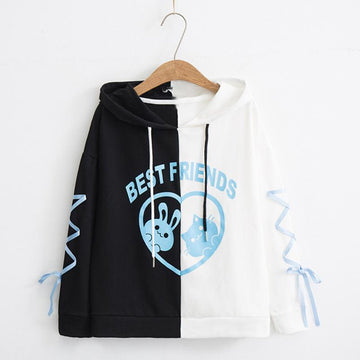 Modakawa Sweatshirt Black / M BEST FRIEND Letter Bunny Kitty Cartoon Hoodie Color Block