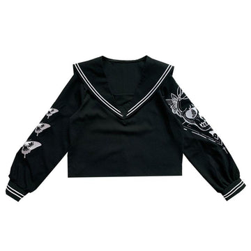 Modakawa Sweatshirt Black / M Butterfly Embroidery Sailor Collar Sweatshirt