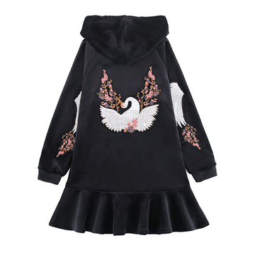 Modakawa Sweatshirt Black / M Crane Embroidery Velvet Ruffle Hooded Dress