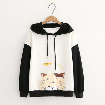 Drop Shoulder Cartoon Cat Fish Print Hoodie Sweatshirt