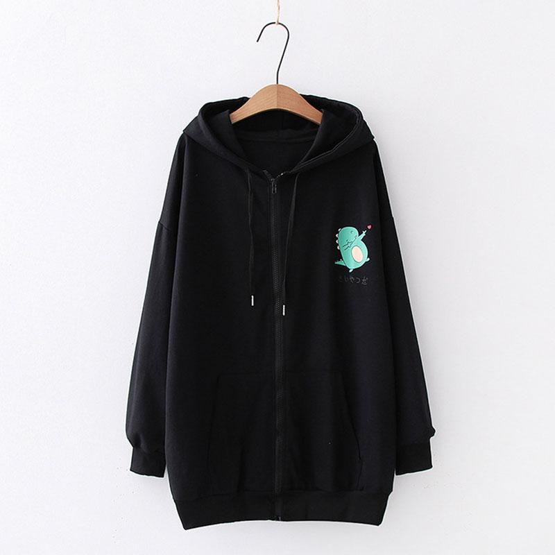 Modakawa Sweatshirt Black / M Drop Shoulder Zipper Dinosaur Print Hoodie Pocket Sweatshirt