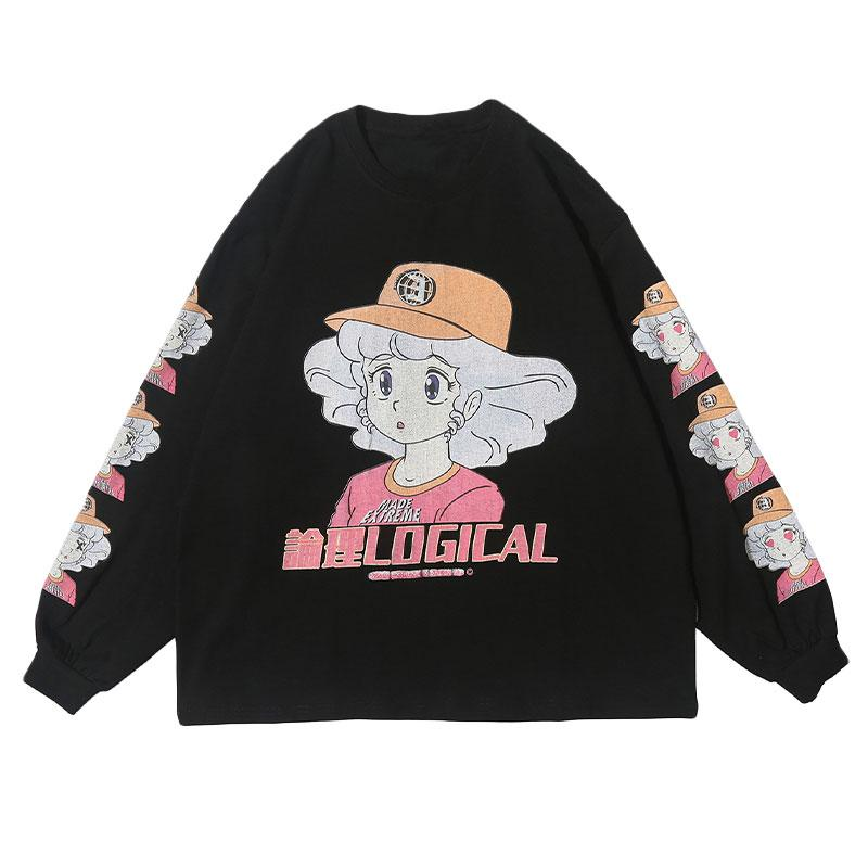 Modakawa Sweatshirt Black / M LOGICAL Cartoon Girl Print Oversized Sweatshirt